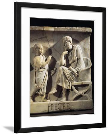 Sarcophagus of M. Cornelius Statius with Scenes from His Childhood, Detail of Child with His Father--Framed Giclee Print
