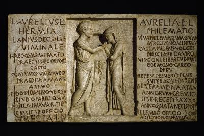 Sarcophagus Slab with Parting of Married Couple--Giclee Print