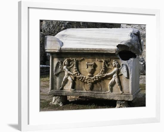 Sarcophagus with Relief of Angels Bearing Wreath, Uncovered from Turkey--Framed Giclee Print