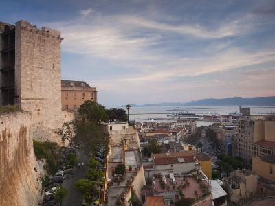 Sardinia, Cagliari, Il Castello Old Town, Torre Dell' Elefante Tower, Sunset, Italy-Walter Bibikow-Photographic Print