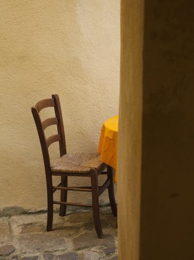 Sardinia, North Western Sardinia, Castelsardo, Cafe Chair, Italy-Walter Bibikow-Photographic Print