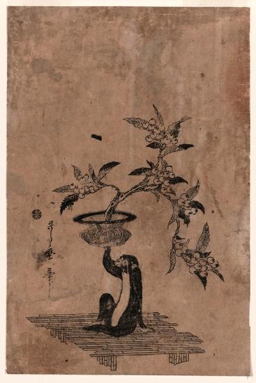 Saru No Hanaike Ni Biwa Monkey Holding a Potted Loquat. Utamaro Ii-Kitagawa II Utamaro-Giclee Print