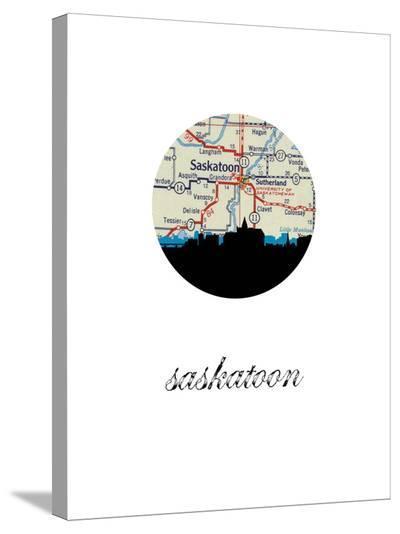 Saskatoon Map Skyline-Paperfinch 0-Stretched Canvas Print