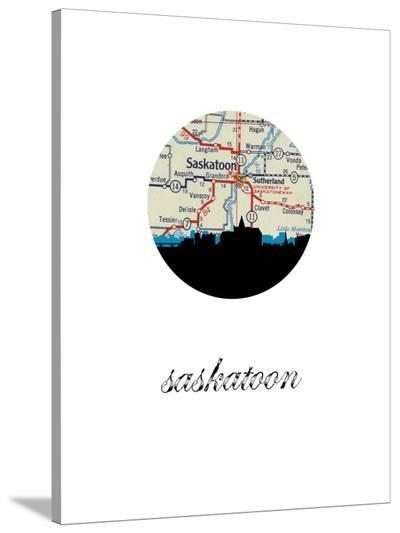 Saskatoon Map Skyline-Paperfinch 0-Stretched Canvas Print
