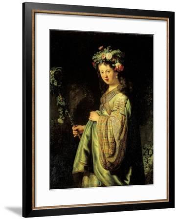 Saskia as Flora-Rembrandt van Rijn-Framed Art Print