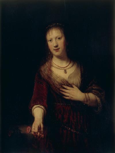 Saskia With a Red Flower-Rembrandt van Rijn-Giclee Print