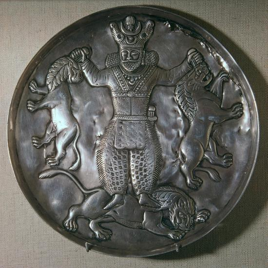 Sassanian dish showing a king holding lions-Unknown-Giclee Print