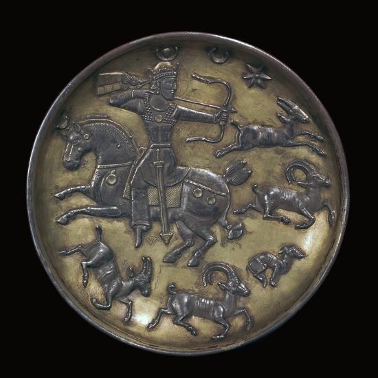 Sassanian dish showing King Ardashir III hunting. Artist: Unknown-Unknown-Giclee Print