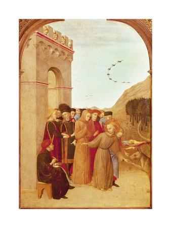 St Francis Speaking with Wolf of Gubbio, from Altarpiece of Holy Sepulchre, 1437-1444
