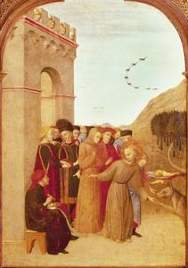 St Francis Speaking with Wolf of Gubbio, from Altarpiece of Holy Sepulchre, 1437-1444 by Sassetta