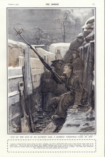 """""""Sat on the End of My Bayonet Like a Bloomin' Christmas Card, He Did""""-Philip Dadd-Giclee Print"""