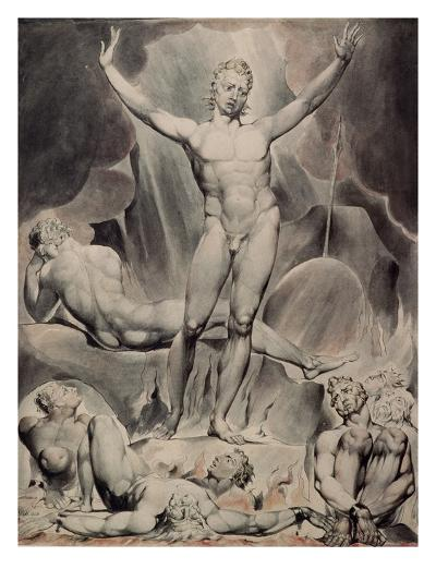 Satan Arousing the Rebel Angels-William Blake-Giclee Print