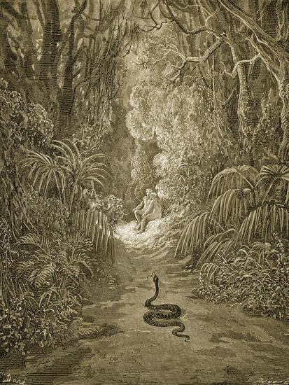 Satan As a Serpent Enters Paradise-Gustave Dor?-Giclee Print