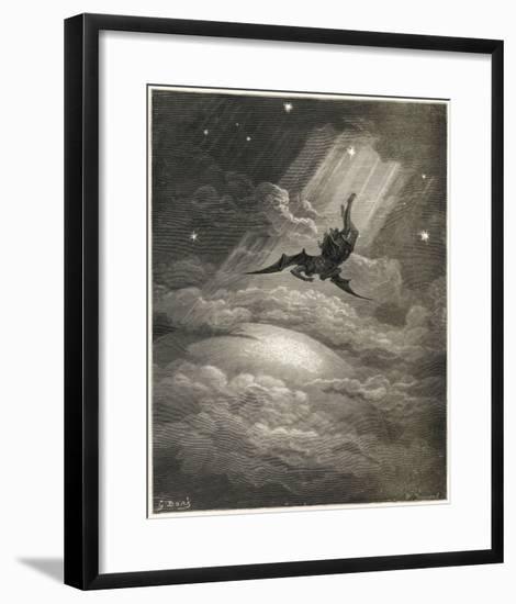 Satan Flies to Earth--Framed Giclee Print