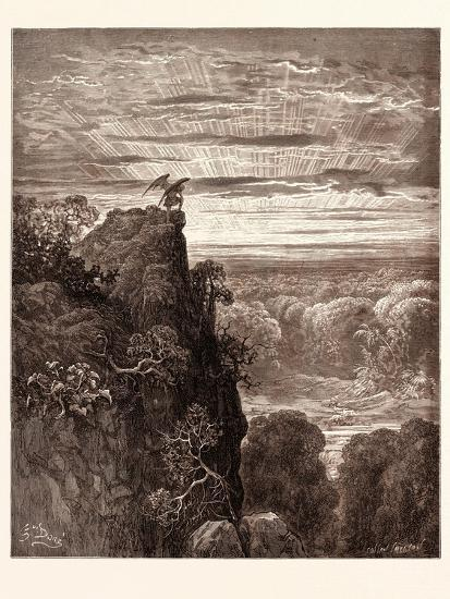 Satan Overlooking Paradise-Gustave Dore-Giclee Print