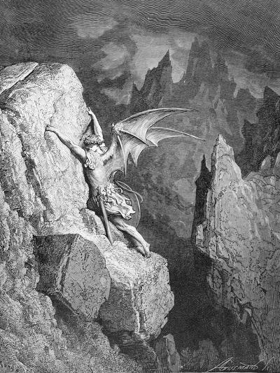Satan's Flight Through Chaos, from 'Paradise Lost' by John Milton (1608-74) Engraved by Adolphe…-Gustave Dor?-Giclee Print