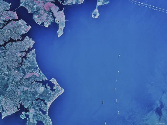 Satellite Image of Chesapeake Bay and Annapolis, Maryland-Stocktrek Images-Photographic Print