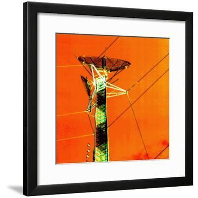 Satellite on Electrical Tower and Power Lines--Framed Photographic Print