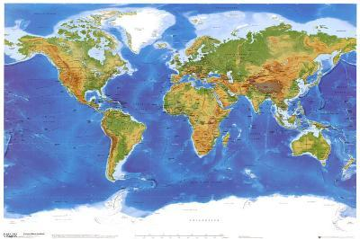 Satellite Physical Map of The World--Poster
