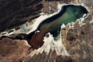 Satellite view of a saline lake, Lake Poopo, Oruro Department, Bolivia