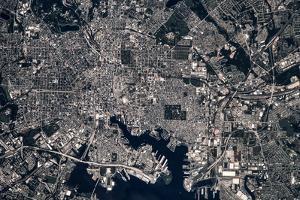 Satellite view of Baltimore, Maryland, USA