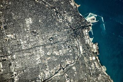 Satellite view of Chicago city at the coast of Lake Michigan, USA--Photographic Print