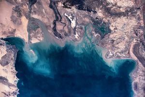 Satellite view of coastal area of Kuwait, Iraq and Iran in Persian Gulf