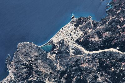 Satellite view of coastal town in Africa--Photographic Print