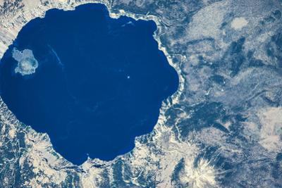 Satellite view of Crater Lake, Oregon, USA