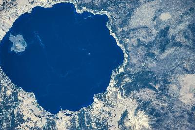 Satellite view of Crater Lake, Oregon, USA--Photographic Print