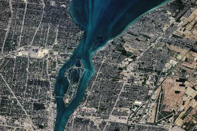 Satellite view of Detroit River and Lake St. Clair, Michigan, USA-Canada--Photographic Print