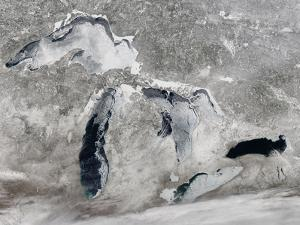 Satellite View of Ice on the Great Lakes, United States