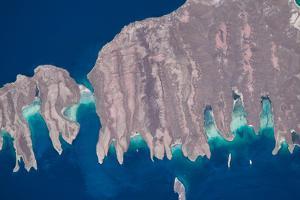 Satellite view of Isla del Espiritu and Isla Partida in Gulf of California, Baja California Sur...