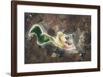Satellite view of Lake Urmia in East Azerbaijan, Iran--Framed Photographic Print