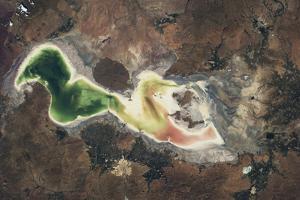 Satellite view of Lake Urmia in East Azerbaijan, Iran