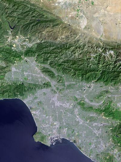 Satellite View of Los Angeles, California And Surrounding Area-Stocktrek Images-Photographic Print