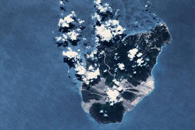 Satellite view of Montserrat Island, British Overseas Territory--Photographic Print