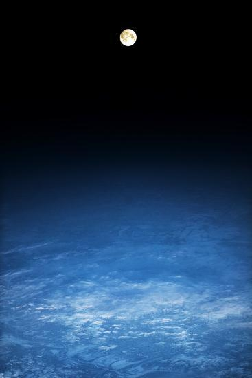 Satellite view of moon over Earth in Russia--Photographic Print