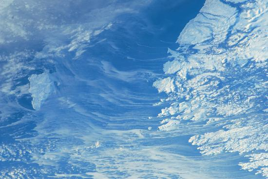 Satellite view of Newfoundland and Labrador with North Atlantic Ocean, Canada--Photographic Print