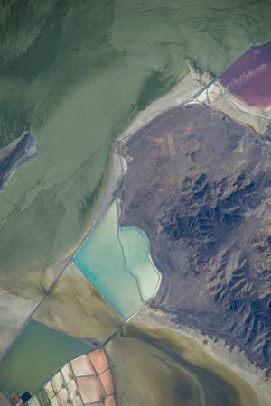 Satellite view of salt evaporation ponds at Great Salt Lake, Utah, USA