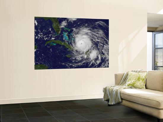 Satellite View of the Eye of Hurricane Irene as it Enters the Bahamas-Stocktrek Images-Wall Mural