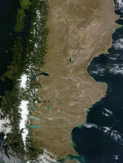 Satellite View of the Patagonia Region in South America-Stocktrek Images-Photographic Print