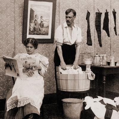 Satire of Feminism Showing an Extreme Role Reversal in a 1900's American Home--Photo