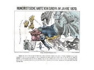 Satirical Map - Humoristische Karte Von Europa Im Jahre 1870