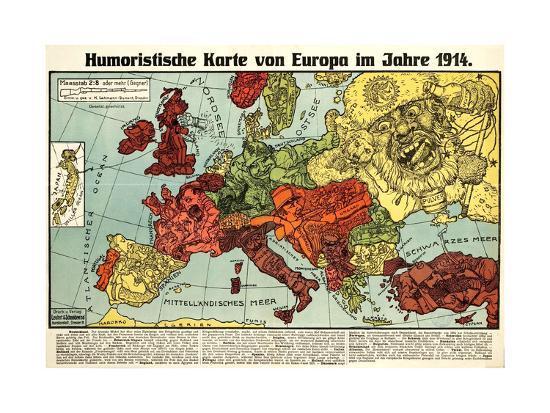 Satirical Map - Humoristische Karte Von Europa Im Jahre 1914-K. Lehmann-Dumont-Giclee Print