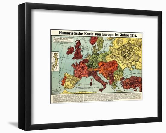 Satirical Map - Humoristische Karte Von Europa Im Jahre 1914-K. Lehmann-Dumont-Framed Giclee Print