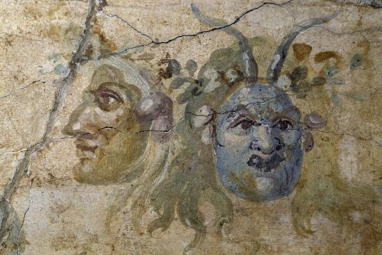 Satirical Masks from House of Farnesina, Rome, Italy BC--Giclee Print