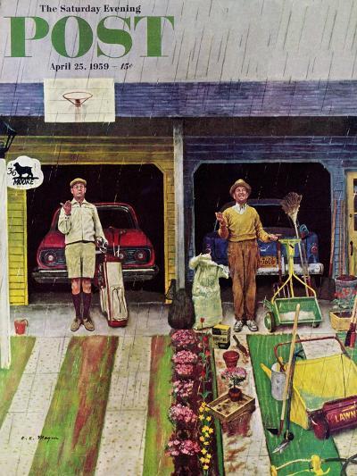 """Saturday Rain"" Saturday Evening Post Cover, April 25, 1959-Earl Mayan-Giclee Print"