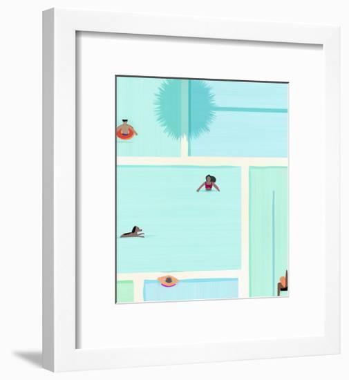 Saturdays At The Pool-Modern Tropical-Framed Art Print