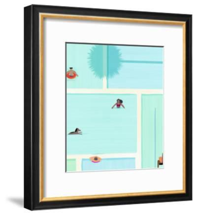 Saturdays At The Pool-Modern Tropical-Framed Art Print